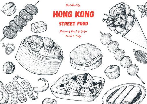 Hong kong street food frame. Chinese food menu design template. Vintage hand drawn sketch, vector illustration. Engraved style illustration. Asian street food sketch.