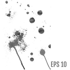 Set of gray splash on white background vector illustration. All elements are not grouped.