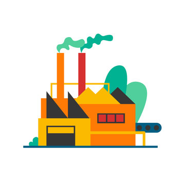 Factory produces smoke. Flat style vector illustration.