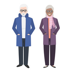 Elderly couple and wear winter clothing icon illustration