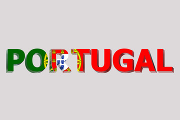 Flag of Portugal on a text background.