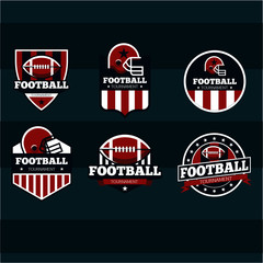 Pack of american football badges, logo , vector design