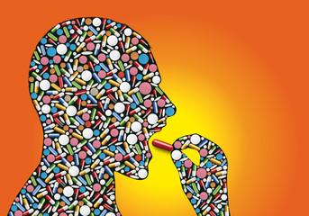 Concept de santé avec un homme qui prend une gélule, symbolisant l'addiction aux médicaments prescrit par le médecin