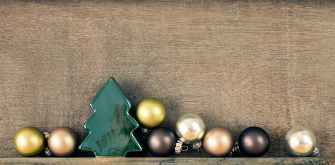 Christmas decoration glass balls with wooden background
