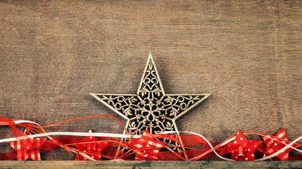 Christmas decoration wooden background with star