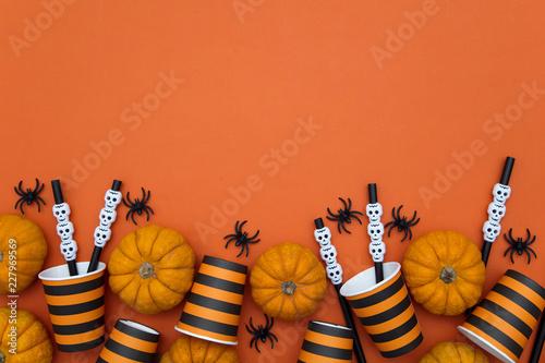 Orange and black happy halloween party background