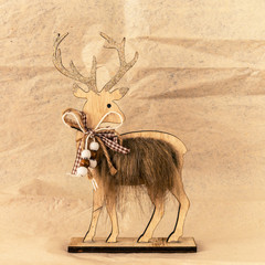 Christmas decoration wooden reindeer