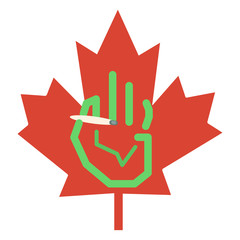 Graphic hand & maple leaf with a maijuana joint.