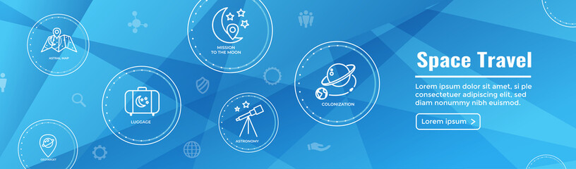 Space Travel or Tourism Web Header Banner with spaceship, telescope, and planets