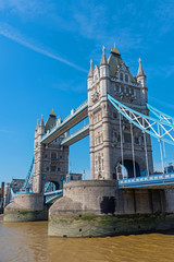 The famous Tower Bridge in London, Great Britain, on a sunny day