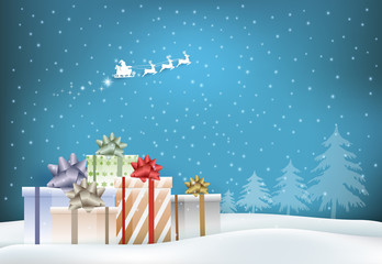 Paper art of gift boxes and Santa claus in snowy. Merry Christmas, Happy New Year for background illustration