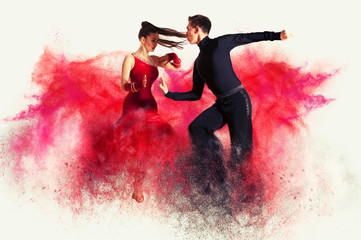 Photo on textile frame Dance School Dancing ballroom. Color dust effect