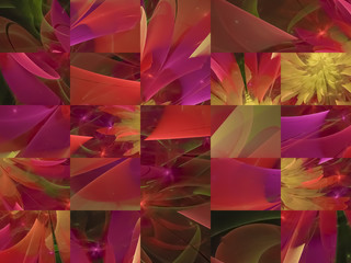 abstract digital fractal mosaic, collage