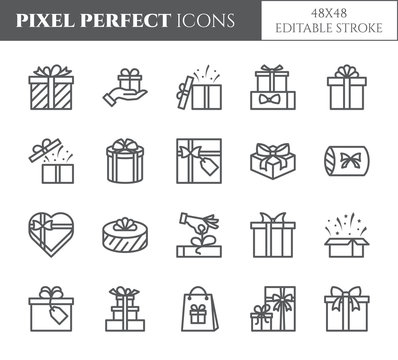 Gift boxes icons set with editable stroke - black outline transparent elements of wrapped and decorated presents.
