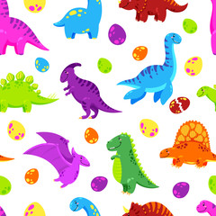 Dinosaur cartoon vector background. Seamless pattern, texture, wallpaper