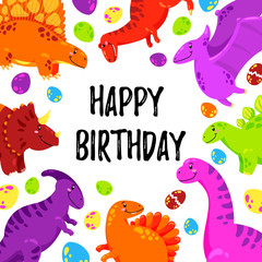 Cute greeting card with a dinosaur. Party invitation . Vector illustration