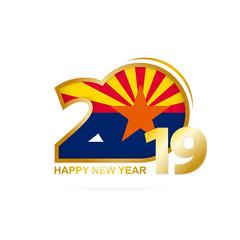 Year 2019 with Arizona Flag pattern. Happy New Year Design.
