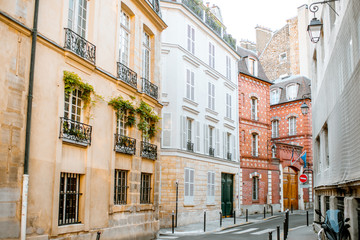 Street view with beautiful buildings in Paris, France Wall mural