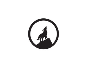 Wolf night black logo and symbol vector