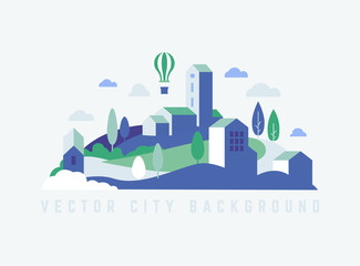 Eco City landscape with buildings, hills and trees. Landscape with air balloon.