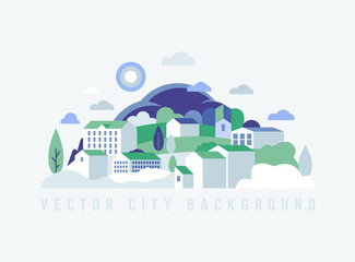 Eco City landscape with buildings, hills and trees. Vector ecology illustration in minimal geometric flat style.