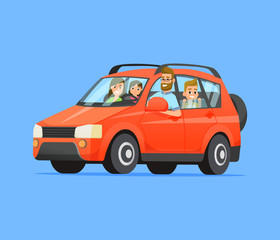 Family Road Trip. Happy family traveling by car. Father, mother, son and daughter. Family travel on a red car. Vector flat style illustration.