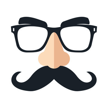 Disguise mask. Funny glasses. Vector