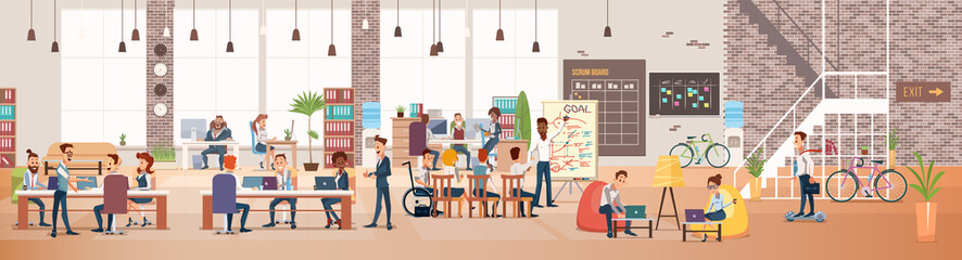 People Work in Office. Coworking Workspace. Vector Wall mural