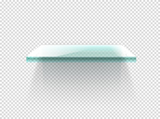 Illuminated glass shelf vector clipart. Vector objects isolated on transparent background