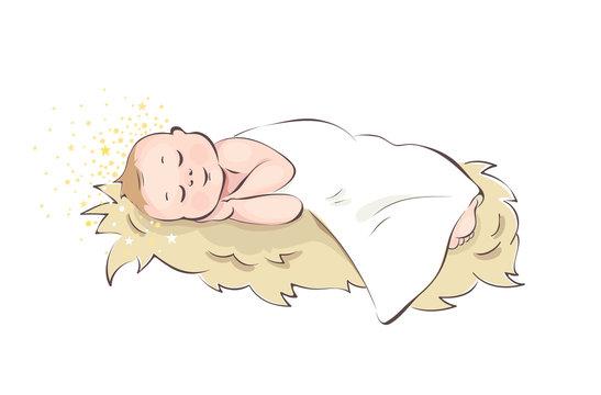 Baby Jesus / Baby sleeping in the manger, vector illustration