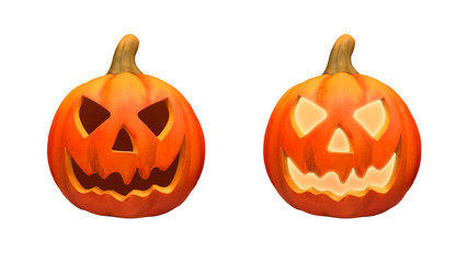 Halloween pumpkins isolated on the white background