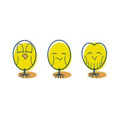 3 happy yellow chic birds. Cozy happy, contained happy, estatic happy