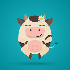Vector cartoon illustration of funny egg shaped smiling cow