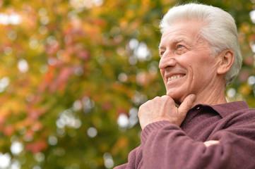 Close up portrait of senior man posing