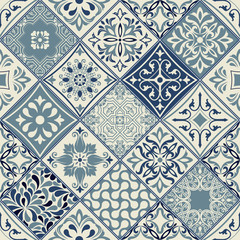 Vector set of tiles background in portuguese style.