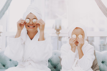 Spa Day for Smiling Happy People in Beauty Salon.
