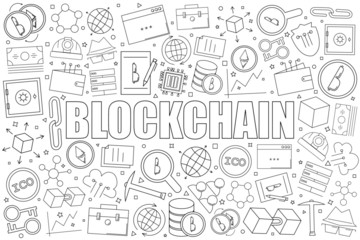Blockchain background from line icon. Linear vector pattern. Vector illustration