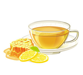 Cup of herbal tea with lemon and honeycomb. Vector illustration on isolated white background