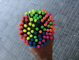 Group of colored felt-tip pens