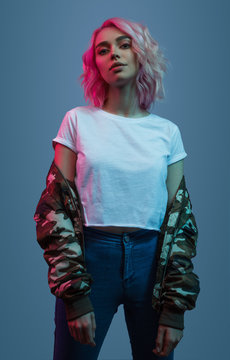 Stylish lady with pink hair