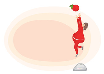 jump to meet healthy eating/ fat man with excess weight, tried to reach the apple