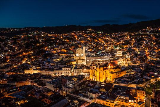 Beautiful night panorama of Guanajuato City in Mexico