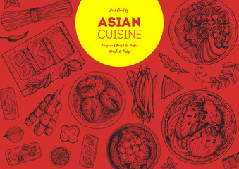 Asian cuisine sketch collection. Hand drawn vector illustration. Food menu design template, engraved elements. Food set.