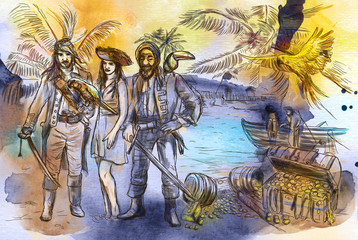Pirates. An hand drawn illustration. Freehand drawing, painting.