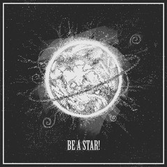 Graphic illustration with close up star. The Sun. Cosmic universe drawing. Realistic graphics. Can be printed on a t-shirt, postcards, tattoo, books images, etc.