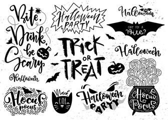 Set of Halloween elements, symbols and quotes, script, lettering