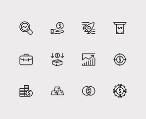 Capital icons set. Investment target and capital icons with mutual funds, cash out and investing diversification. Set of data for web app logo UI design.