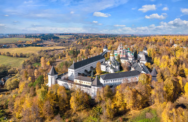 Autumn yellow forest surrounding Savvino-Storozhevsky Monastery in Zvenigorod, Moscow oblast, Russia