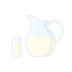 Glass and jug with milk vector illustration isolated on white ba