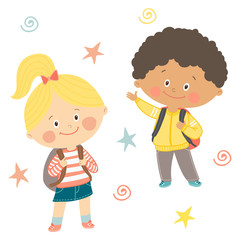 Funny hand drawn kids with backpacks. Cute boy and girl with schoolbags. Happy first day of school card design.Cartoon vector eps 10 illustration on white background in flat style.